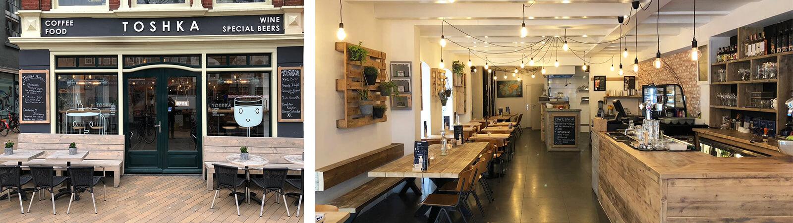 Inrichting brasserie met steigerhout