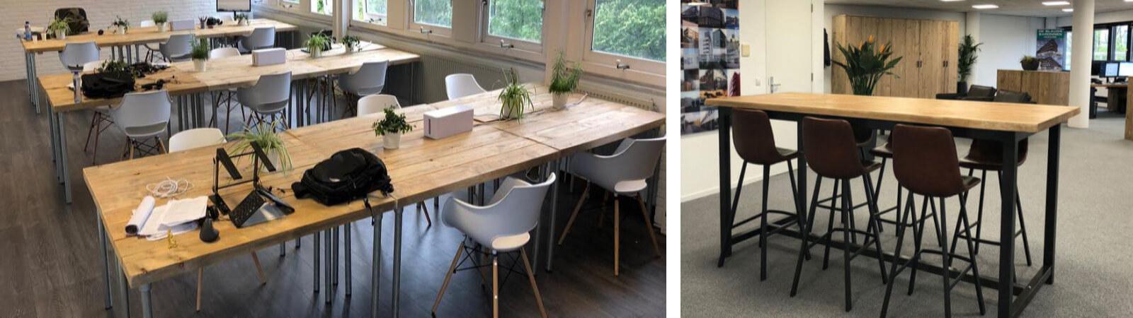 Kantoor inrichting met steigerhouten tafels met industriele poten